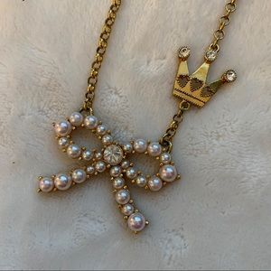 Betsey Johnson Faux Pearl Bow Necklace